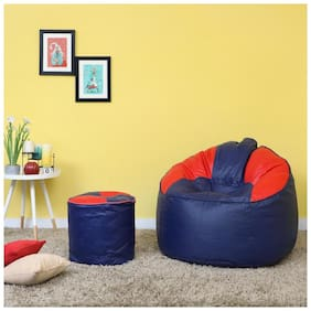 VSK Combo XXXL Sofa Mudda Bean Bag Cover with Round Footrest/Puffy (Without Beans)