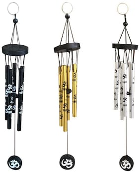 Vyne feng shui combo for 3 Om wind chime black , golden and silver