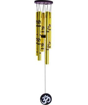 Vyne Fengshui Wind Chimes With Om Printed On Five Golden Pipes For Good Luck