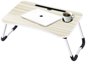 Wahram Foldable Laptop Table with Cup Holder,Charging Cable & IPad/Tablet Slot - Cream