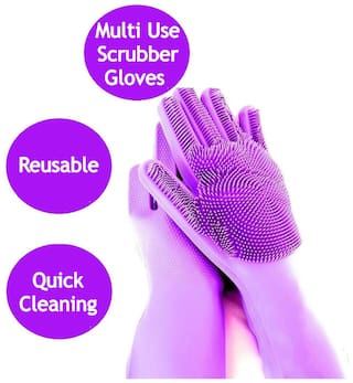 Wahram Kitchen Scrubber Cleaning Gloves for Utensils Washing & Wet Cleaning - Assorted