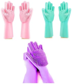 Wahram Kitchen Scrubber Cleaning Gloves for Utensils Washing & Wet Cleaning - Multi (Set of 3 Pairs)