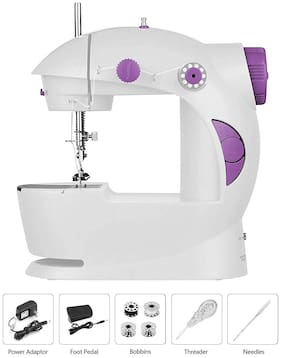 Wahram Multi-Functional Electric 4-in-1 Portable Mini Sewing Machine For Home Use - White-Purple