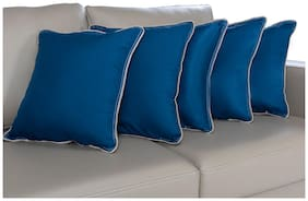 Wakefit Hollow Fibre Filled Cushion, 16x16 Inch, Dark Teal, Set of 5 (Colours Available) (Can be Used, with or Without Cover)