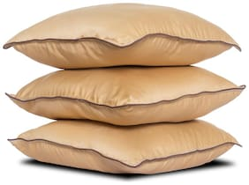 Wakefit Hollow Fibre Filled Cushion Pack of 3 -Beige