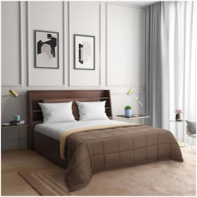 Wakefit Siliconised Microfibre Reversible Comforter;Brown & Beige - Single