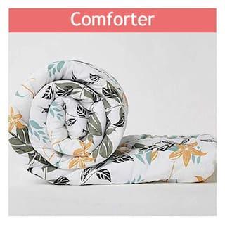 Wakefit Siliconised Microfibre Cotton Printed Comforter;Leafy - Single