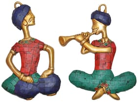 Wall Hanging two Musician Set metal made showpiece