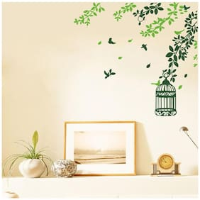 Wall Sticker (Green branches,Surface covering Area 66 x 60 cm)