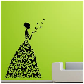 Wall Sticker (Butterfly girl,PVC Vinyl,Surface Covering Area - 30 x 45 cm)