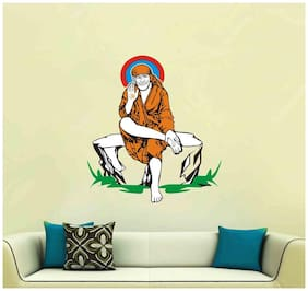 Wall Sticker (Sai baba,PVC Vinyl,Surface Covering Area -30 x 33 cm)