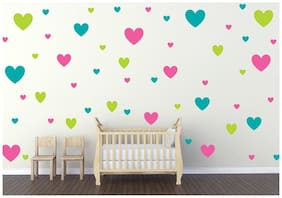 Decor Villa Heart Wall Sticker PVC Vinyl Size -91 cm X 51 cm Multicolor