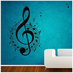 Wall Sticker (Music symbol,PVC Vinyl,Surface Covering Area - 30 x 43 cm)