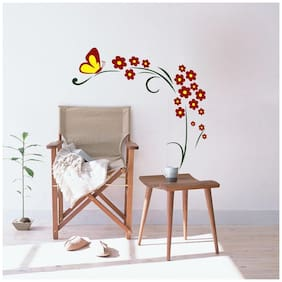 Decor Villa Yellow Butterfly Wall Sticker PVC Vinyl Size -78 cm X 76 cm Multicolor