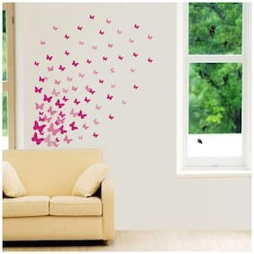 Decor Villa Pink Butterfly Wall Sticker PVC Vinyl Size -83 cm X 91 cm Multicolor