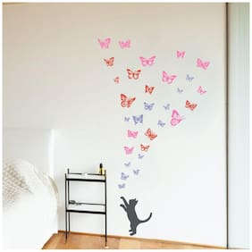 Decor Villa Butterfly Cat Wall Sticker PVC Vinyl Size -71 cm X 127 cm Multicolor