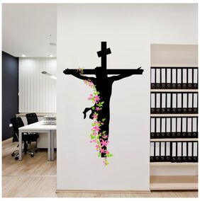 Wall Stickers Jesus Christ Floral Decal Religion Christian Cross Divine Trinity Prayer Vinyl