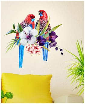 Wall Stickers Pretty Tropical Birds on Floral Branch for Sofa Backdrop