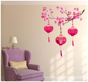 Wall Stickers Living Room Beautiful Chinese Lamps Lantern in Pink on Floral Branch