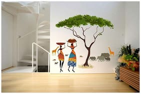 Wall Stickers Artistic Tribal Ladies with Animals Nature