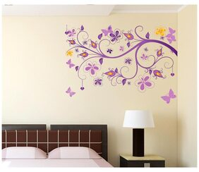 Wall Stickers Floral Vine Purple Beautiful Decorative Decal for Home Office and Living Room