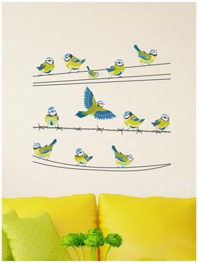 Wall Stickers Colorful Birds Sitting On A Wire Cable