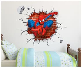 Wall Stickers Spiderman Super Hero Cartoon Design For Kids Bedroom Decoration Vinyl