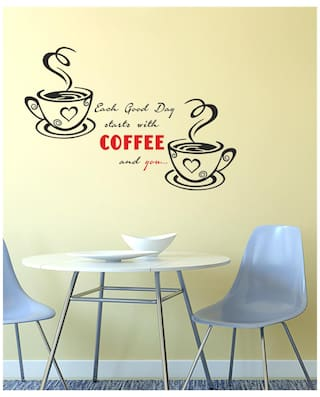 Buy Wall Stickers Kitchen Design Quote With Cups Of Coffee Online At