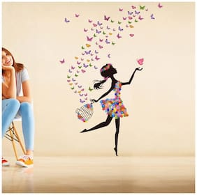 Wall Stickers Dreamy Girl with Flying Colorful Butterflies