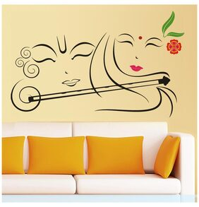 Wall Stickers Wall Decals Radhe Krishna with Flute