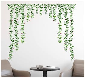 Wall Stickers Living Room Background Art Green Falling Vinyl with Pretty Flowers