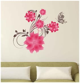 Wall Stickers Pink Flowers Leaves And A Butterfly For Nature Lovers