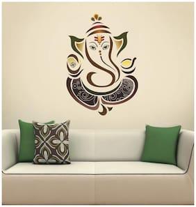WallTola Modern Elegant Ganesha God For Pooja Room Wall Stickers