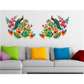 Wall Stickers Peacock Birds on Colourful Branch Leaves Wall Design Sofa Background Vinyl