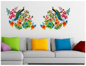 WallTola Peacock Birds on Colorful Branch Leaves Wall Design Sofa Background Vinyl Wall Stickers