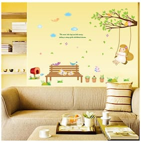 Wall Stickers Baby Room Decor Garden Nursery Kids Theme Girl Swinging on Branch with Cute Cats
