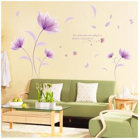 Wall Sticker Purple Flower with Blowing Petals and Quote