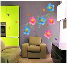 Wall Stickers Flowers Pink and Blue with Butterflies for Living Room Backdrop Decor Vinyl