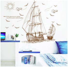 Wall Sticker Artistic Ships Sailing on Water with Quote