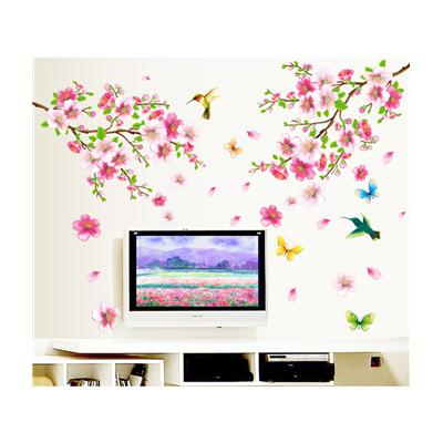 Wall Stickers Flowers TV Background Branch LED LCD Living Area Decoration  PVC Vinyl