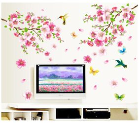 WallTola Flowers Decoration PVC Vinyl Wall Stickers for TV Background
