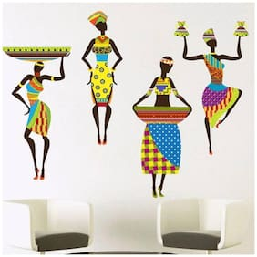 Wall Stickers Traditional African Dancing Ladies Modern Art