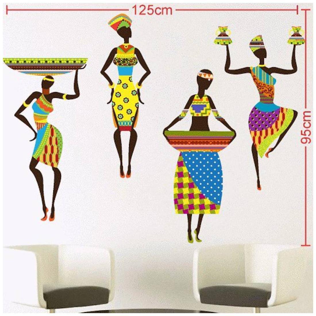 Wall Sticker African Ladys Design PVC Vinyl Home Decor Decal 24 X 27 Inch