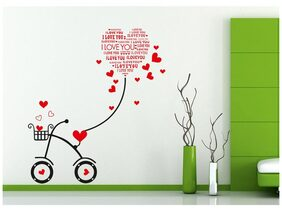 Wall Stickers Heart-shaped I Love You Kids Room Bicycle with String Decal Cute