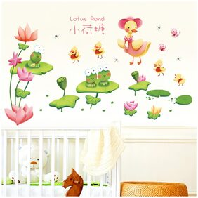 Wall Stickers Lotus Pond with Ducks and Frogs