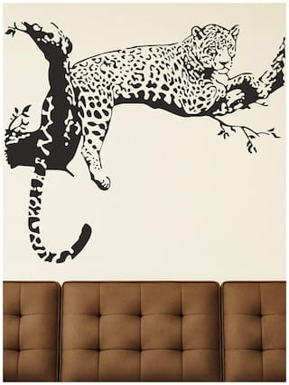 Wall Stickers Animal Design Leopard On Branch Sofa Backdrop