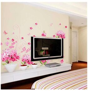 Wall Stickers Flowers Pink Blossoms for Living Room Art and Butterflies Vinyl
