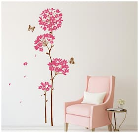 Wall Stickers Flowers Pink Dandelion Large Size Vinyl Wall Decal for Home