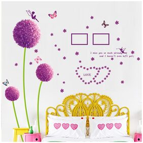 Wall Sticker Purple Flower with Quote