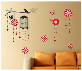 Wall Stickers Decorative Cage with Bird on Branch Living Room Background Design